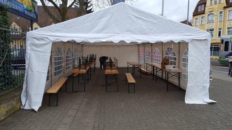 Partyzelt 5x10m Bierzeltgarnituren Hannover 1