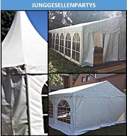 Junggesellenpartys mieten Sie für Ihre Veranstaltung Zelte Equipment Mobiliar Gläser und Geschirr bei Mutz Zeltverleih