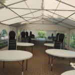 Partyzelt Einrichtung Mobiliar Bankettische Stühle